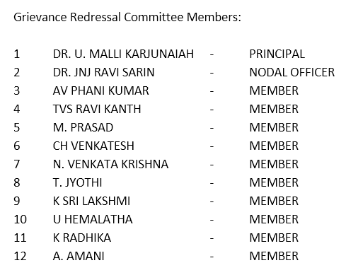 Grievance Redressal Committee
