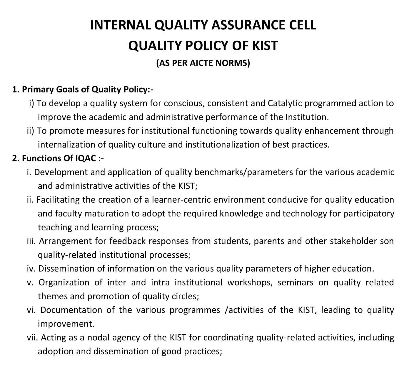 INTERNAL QUALITY ASSURANCE CELL KIST